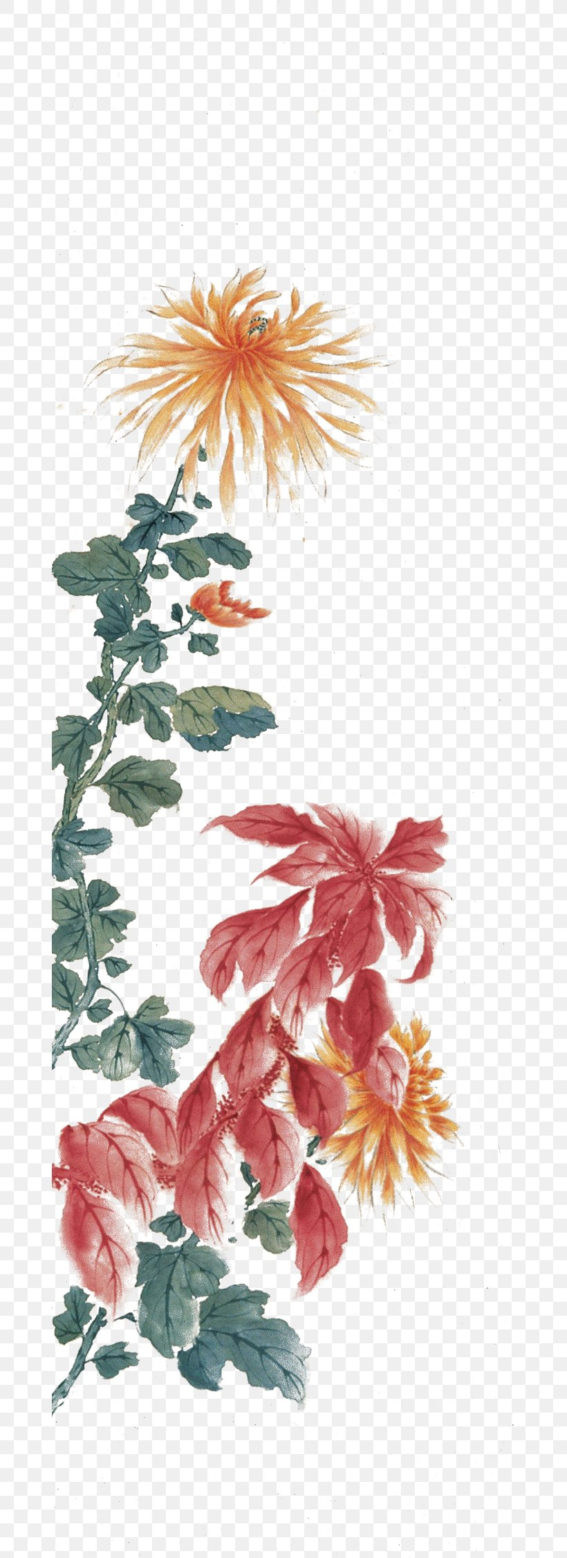 Watercolor Painting Floral Design Ink Wash Painting, PNG, 670x2250px, Watercolor Painting, Art, Branch, Creative Arts, Dahlia Download Free
