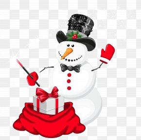 Christmas Snowman Magician Clipart - Snowman Christmas Clip Art PNG