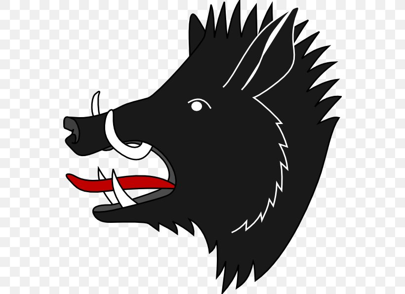 Coat Of Arms Boar Hunting Clip Art, PNG, 564x595px, Coat Of Arms, Black And White, Boar Hunting, Carnivoran, Cartoon Download Free