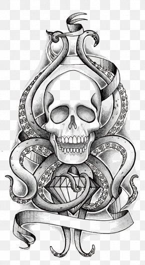 Vector Skull - Octopus Skull Tentacle Human Skeleton PNG