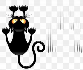Black Cat And Scratches Transparent Vector Clipart - Black Cat Cartoon Clip Art PNG