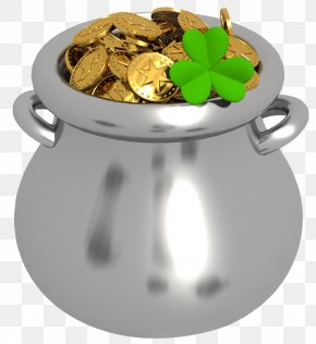 Transparent Pot Of Gold With Shamrock Clipart - Gold Clip Art PNG