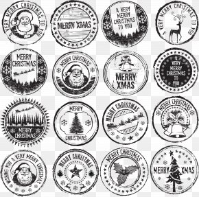 Vintage Christmas Stamp - Christmas Nail Art Illustration PNG