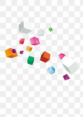 Floating Cube - Colorful Cube PNG