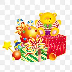 Bear Christmas Decoration And Gifts - Santa Claus Christmas Decoration Gift PNG