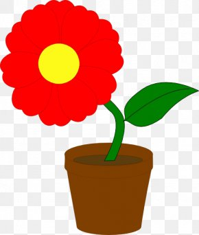 Red Flowers Cliparts - Flowerpot Houseplant Clip Art PNG