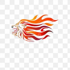 Fire Lion Design - Lion Fire Clip Art PNG