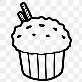 Cake - Muffin Cupcake Bakery Black And White Clip Art PNG