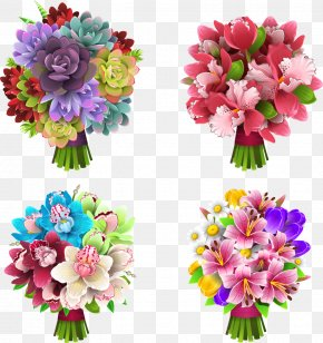 Four Beams Beautiful Vector Flowers - Floral Design Flower Euclidean Vector PNG