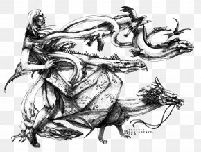 Chinese Ink Painting - Legendary Creature Drawing Visual Arts Sketch PNG