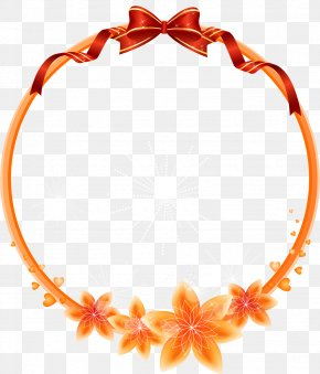 Cartoon Beautiful Circular Frame Border Title - Picture Frame Flower Clip Art PNG