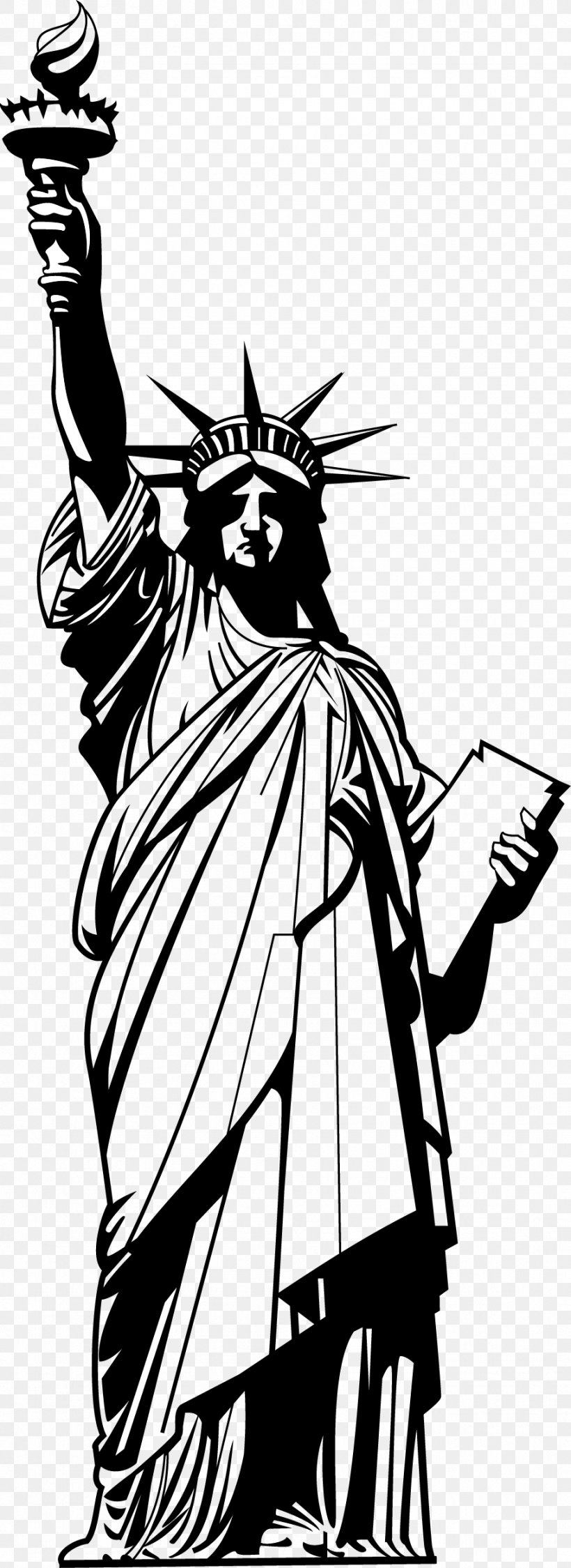 Statue Of Liberty National Monument Silhouette, PNG, 909x2494px, Statue Of Liberty, Art, Black And White, Cartoon, Drawing Download Free