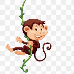 Monkey Climbing Vines - The Evil Monkey Primate Clip Art PNG