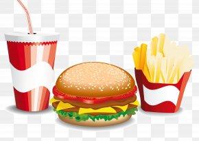 Vector Burger Fries Drinks - Hamburger Fast Food French Fries Cheeseburger PNG