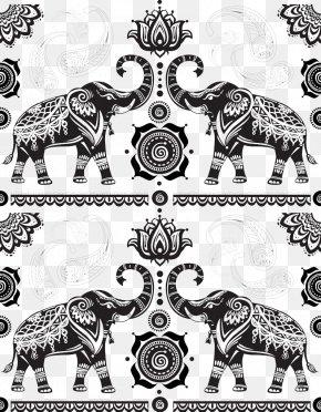 Indian Elephant Pattern Background Image - India Elephant Cartoon PNG