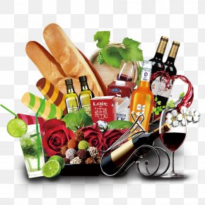 Food And Wine - Wine Liqueur Gift Basket Food PNG