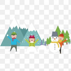 Children's Play Snow Landscape Background - Snow Child Game Clip Art PNG