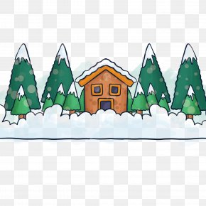 Hand-painted Winter Background With Houses Trees - Winter Tree Drawing PNG