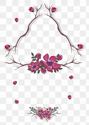 Purple Flower Tree Branches Decorative Pattern PNG