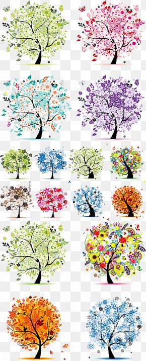 Variety Of Seasons Abstract Tree Vector Material - The Four Seasons Tree Spring Winter PNG
