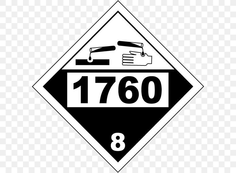 UN Number HAZMAT Class 8 Corrosive Substances Dangerous Goods Placard, PNG, 600x600px, Un Number, Area, Black And White, Brand, Chemical Substance Download Free