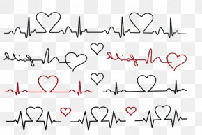 Love Line Heartbeat - Abziehtattoo Electrocardiography Flash Body Art PNG