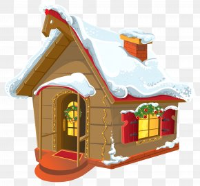 Christmas Winter House Clipart Image - Christmas House Clip Art PNG