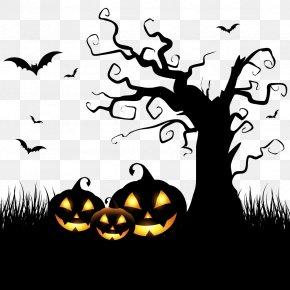 Vector Background Halloween Pumpkin And Tree - Halloween Spooktacular Costume Party Clip Art PNG