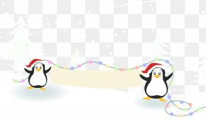 Penguins Playing In The Snow - Christmas Snow Poster PNG