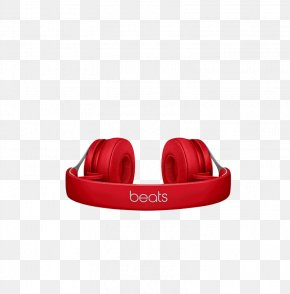 Flat Red Headphones - Microphone Headphones Beats Electronics Sound Audio Equipment PNG