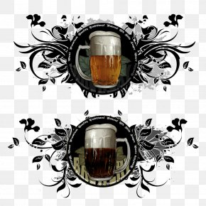 Beer And Leaves Pattern - Picture Frame Ornament Decorative Arts Illustration PNG