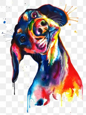 Watercolor Puppy - Dachshund Watercolor Painting Canvas Print PNG