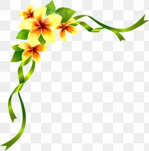Flowers Corner Decoration - Brush Flower Drawing PNG