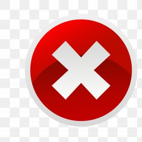White Side Red Circle X Word NO Vector Material - Button Icon PNG