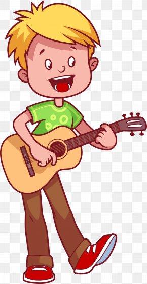Children Playing Guitar - Guitar Cartoon Illustration PNG