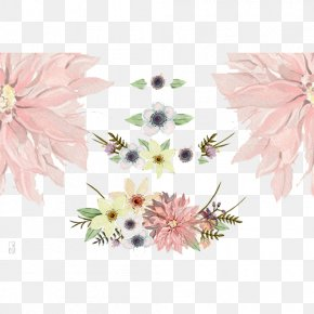 Elegant Wedding Flower Decoration - Deer Antler Watercolor Painting Flower Clip Art PNG