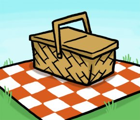 Cartoon Picnic Pictures - Picnic Basket Table Clip Art PNG