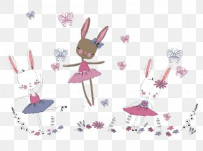 Hand-painted Cute Rabbit - Rabbit Drawing PNG