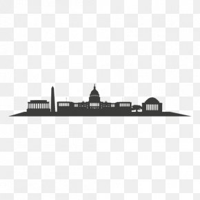City Silhouette - Washington, D.C. Skyline Silhouette Black And White PNG