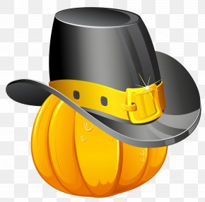 Thanksgiving Pumpkin With Pilgrim Hat Clipart - Pumpkin Thanksgiving Turkey PNG
