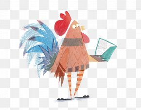 Cock - Rooster Chicken Reading Illustration PNG