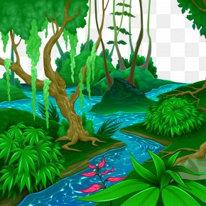 Vector Tropical Forest Landscape River - Tropical And Subtropical Moist Broadleaf Forests Tropical Forest Jungle Euclidean Vector PNG