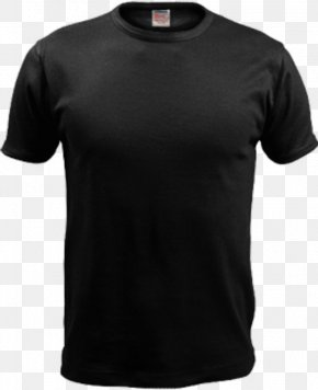 Black T-Shirt Image - Printed T-shirt Under Armour Sleeve PNG