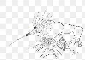 Kenpachi Zaraki - Line Art Figure Drawing Cartoon Sketch PNG