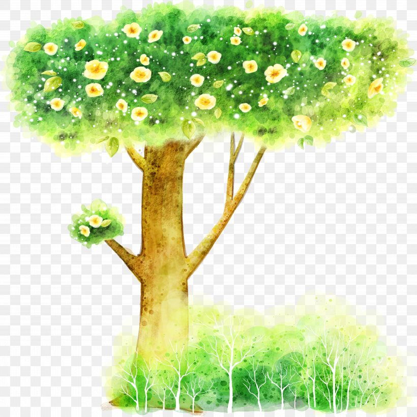 Cartoon Illustration, PNG, 5000x5000px, Watercolor Painting, Animation, Branch, Color, Drawing Download Free