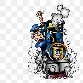 The Old Driver Of The Train - Train Railroad Engineer Steam Locomotive Clip Art PNG