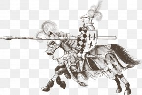 Vector Horse Armor Knight - Jousting Knight Spear Tournament Horse PNG