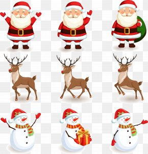Santa Claus And Snowman Deer Material Free Download - Santa Claus Reindeer Christmas PNG