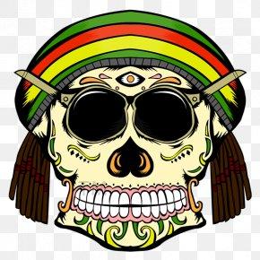 Rasta Skull - Skull Calavera Rastafari Reggae Clip Art PNG
