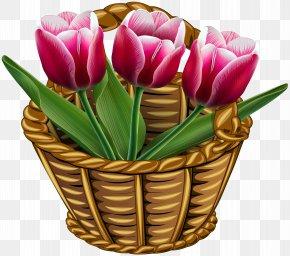 Basket With Tulips Transparent Clip Art Image - Tulip Flower Basket Clip Art PNG